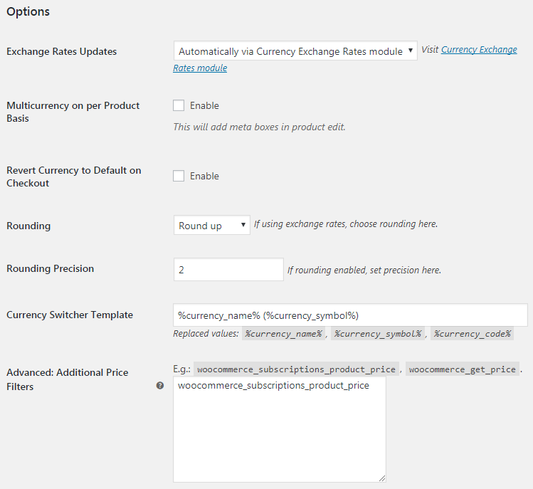 Booster for WooCommerce - Multicurrency Currency Switcher - Admin Settings - General
