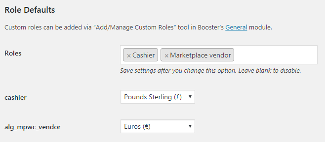 Booster for WooCommerce - Multicurrency Currency Switcher - Admin Settings - Role Defaults
