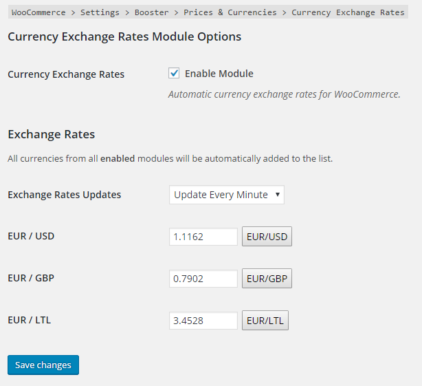 Booster for Woocommerce Currency Exchange Rates Backend