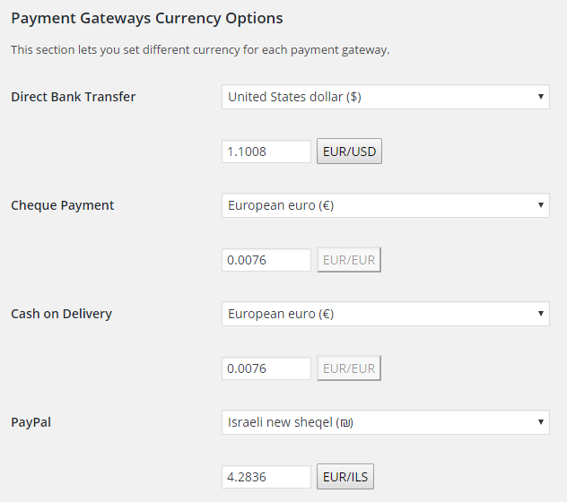 Booster for Woocommerce - WooCommerce Payment Gateways Currency - Admin Settings