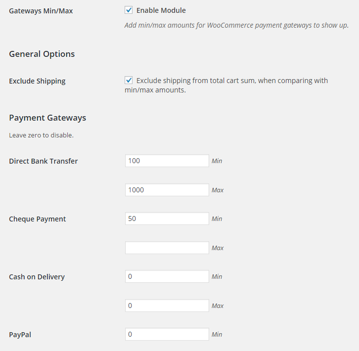 Booster for Woocommerce Gateways Min Max Backend