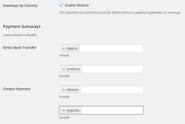 Booster for Woocommerce - WooCommerce Payment Gateways by Country or State - Backend