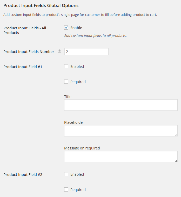 Product Input Fields All Products Options