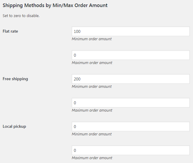 woocommerce shipping methods by min max order amount booster for