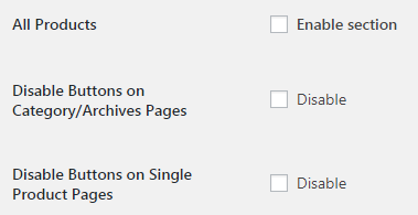 WooCommerce Add to Cart Button Visibility - Admin Settings - All Products