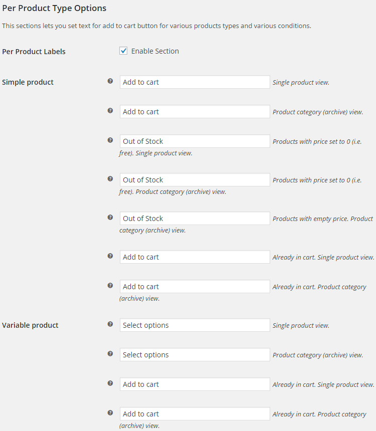 WooCommerce Add to Cart Labels - Admin Settings - Per product type