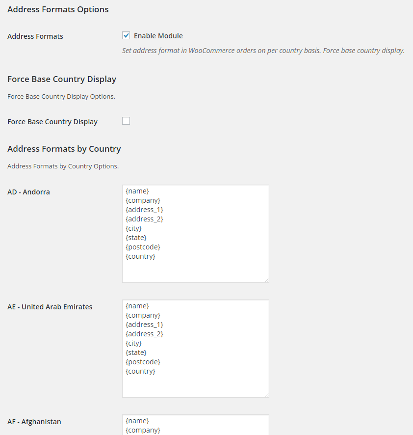 WooCommerce Address Formats