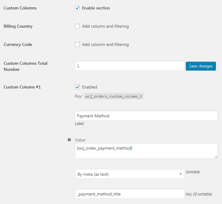WooCommerce Admin Orders List - Admin Settings - Custom Columns