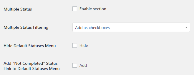 WooCommerce Admin Orders List - Admin Settings - Multiple Status