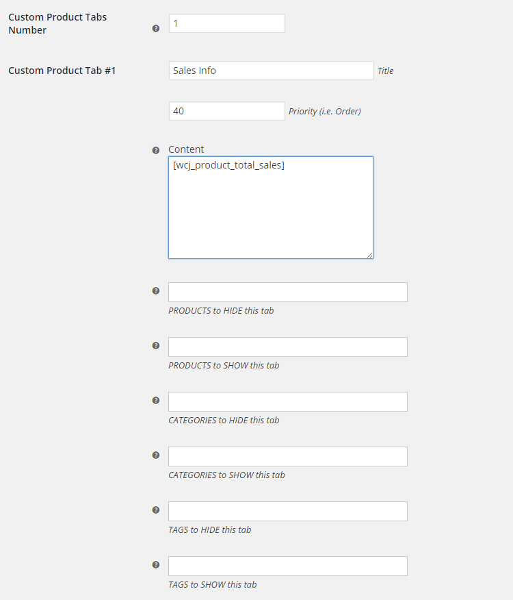WooCommerce Custom Product Tabs - Admin Settings - Global Custom Product Tabs