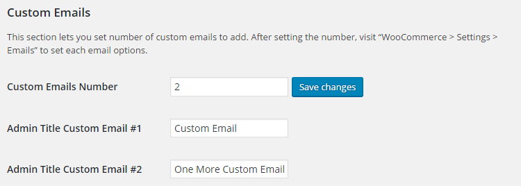 WooCommerce Emails - Admin Settings - Custom Emails