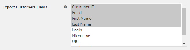 WooCommerce Export Tools - Export Customers Options