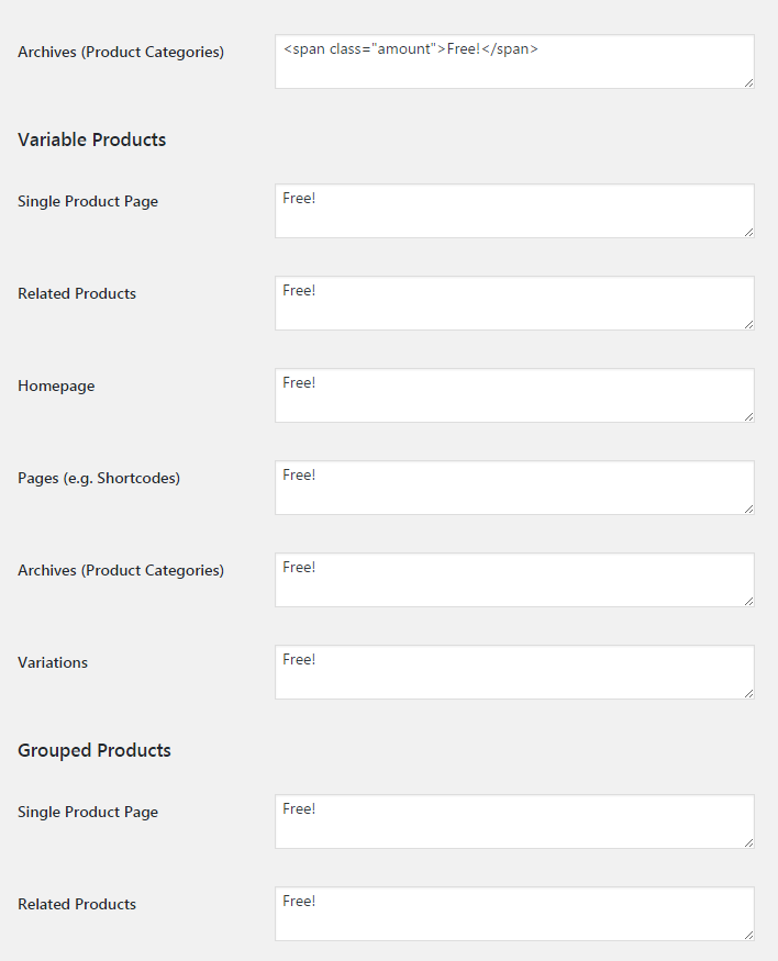 WooCommerce Free Price Labels - Admin Settings