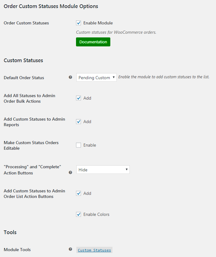 WooCommerce Order Custom Statuses - Admin Settings