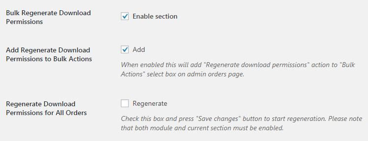 WooCommerce Orders - Admin Settings - Bulk Regenerate Download Permissions for Orders