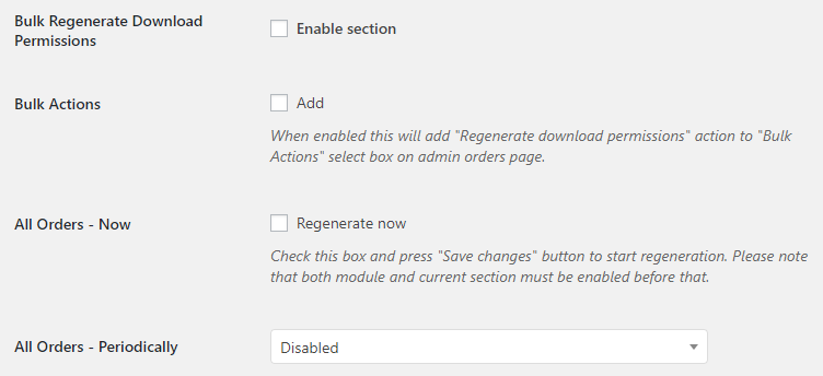 WooCommerce Orders - Admin Settings - Bulk Regenerate Download Permissions for Orders