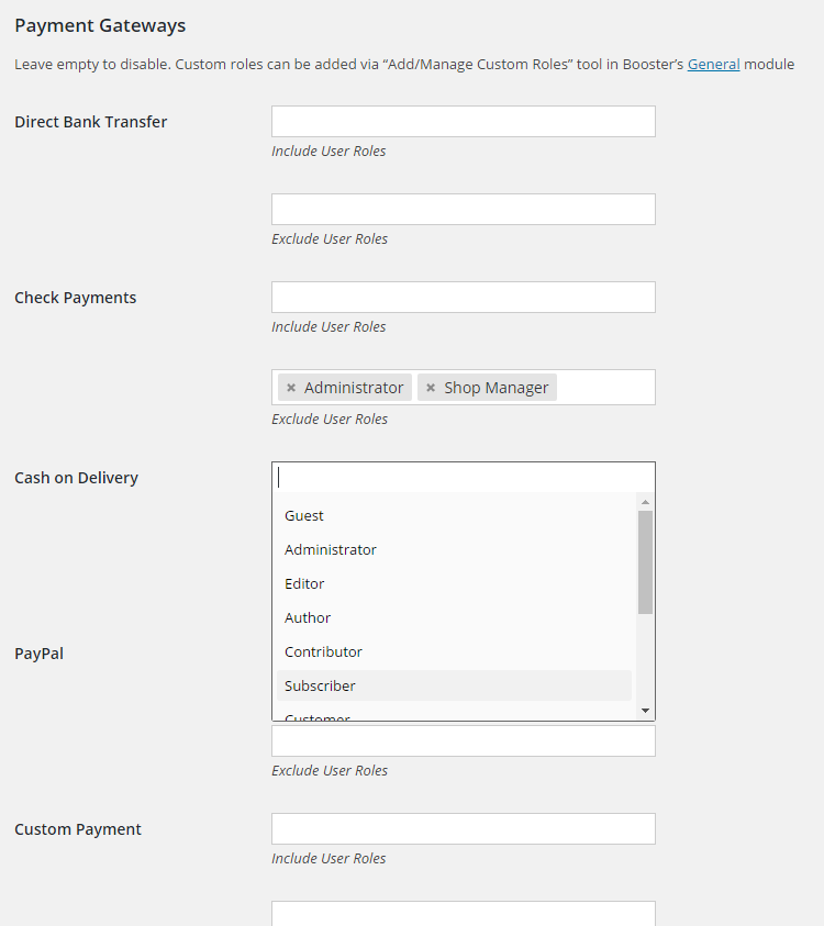 WooCommerce Payment Gateways by User Role - Admin Settings