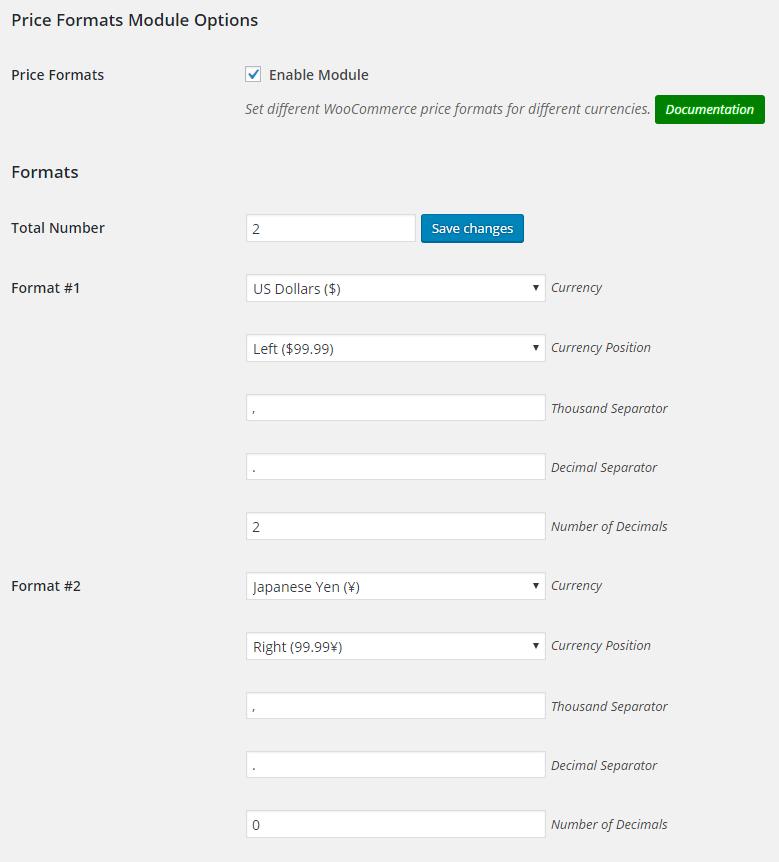 WooCommerce Price Formats - Admin Settings