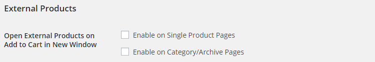 WooCommerce Product Add to Cart - Admin Settings - External Products