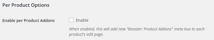 WooCommerce Product Addons Admin Settings Per Product Options