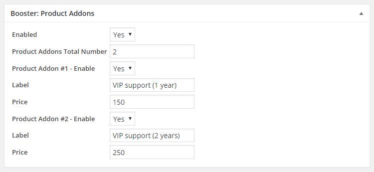 WooCommerce Product Addons Admin Settings Product Edit