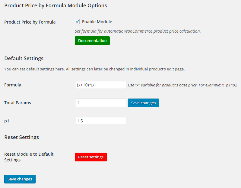 WooCommerce Product Price by Formula - Admin Settings