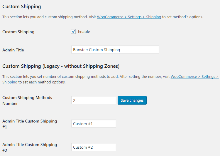 WooCommerce Shipping - Admin Settings - Custom Shipping Methods