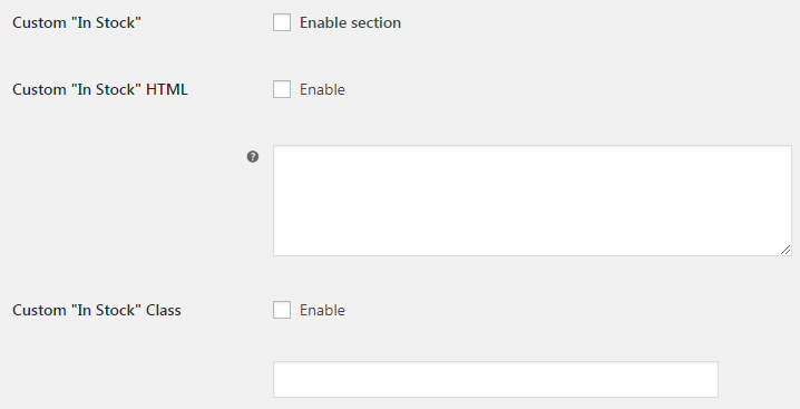 WooCommerce Stock - Admin Settings - Custom In Stock
