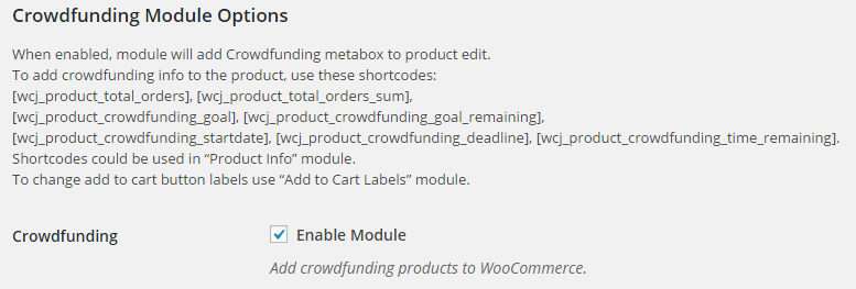WooCommerce Crowdfunding - Admin Settings