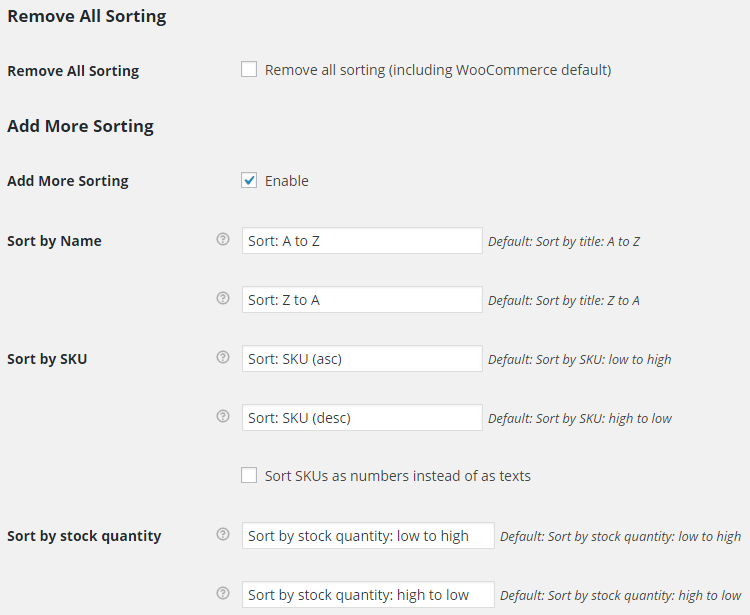 WooCommerce Sorting - Admin Settings - Options