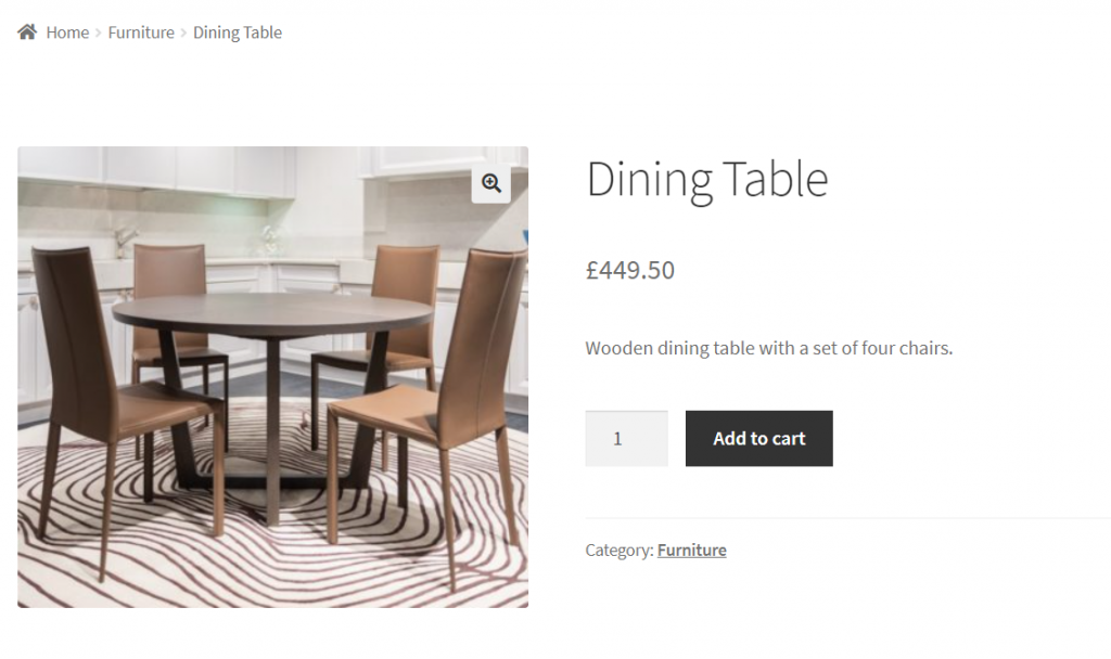 Dining table price updated