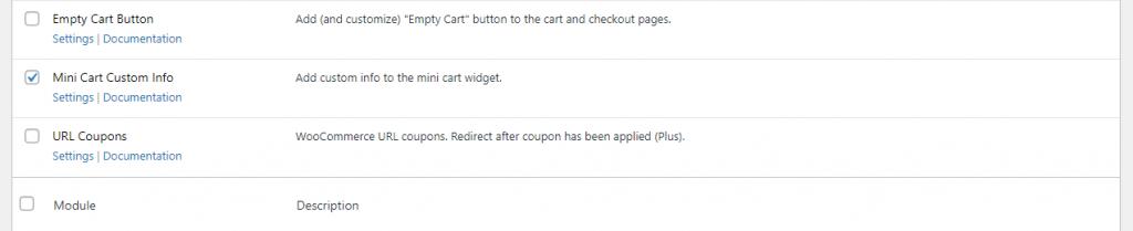 Enable WooCommerce Mini Cart module