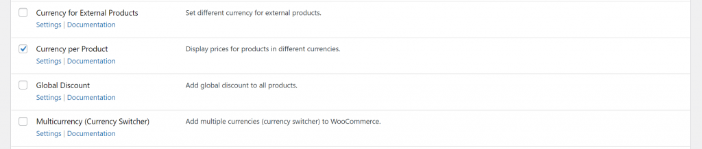 Enable WooCommerce currency per product module