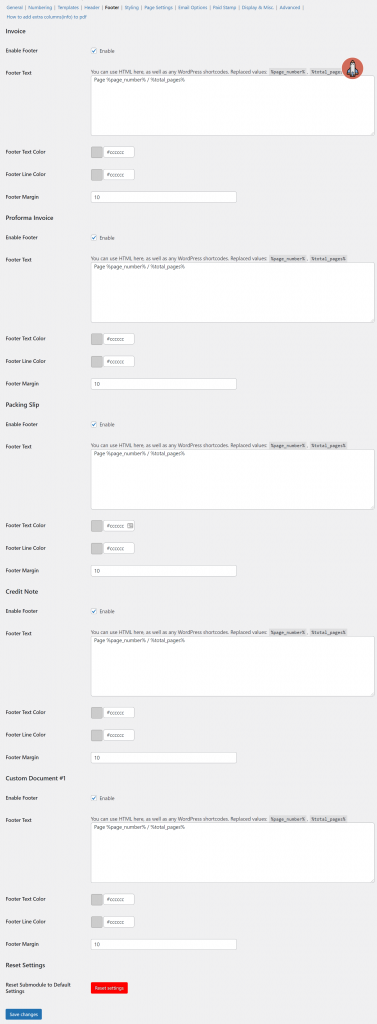 Header and footer settings