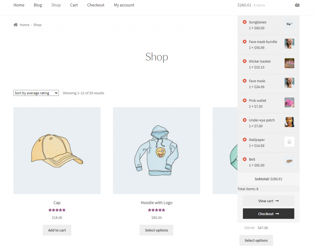 Display the number of products in the cart preview