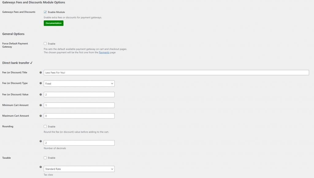 Payment Gateways Fees module settings