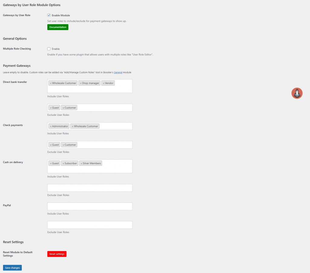 Payment gateways by user role settings